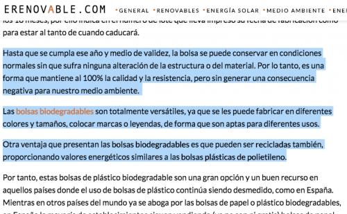 En la publicación de erenovable.com de México se publicó en 2015 un artículo sobre las bolsas plásticas. (Foto: captura de pantalla)
