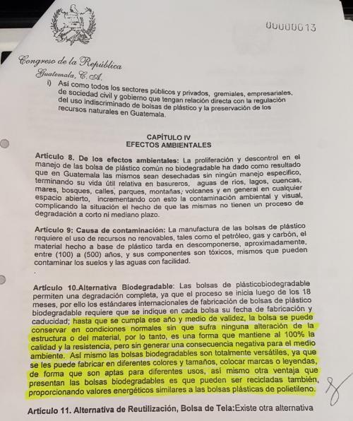 Artículo 10 de la iniciativa de ley para la regulación de bolsas de plástico. (Foto: Iniciativa 5196)