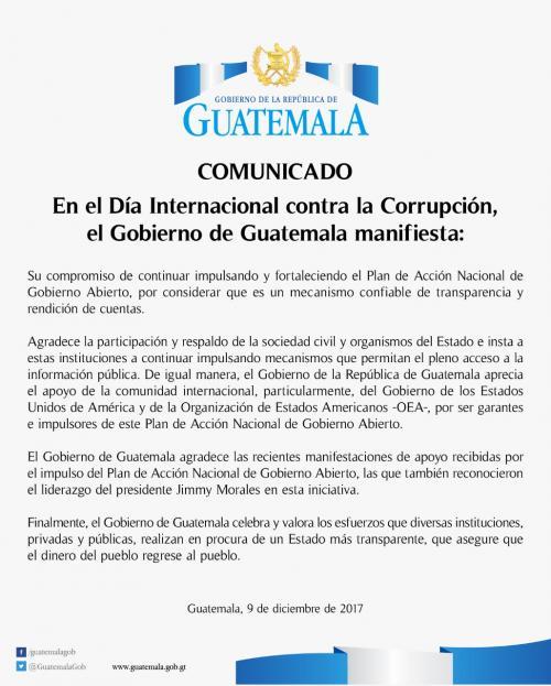 El Ejecutivo emitió un comunicado en el que exhorta a continuar con el Plan de Gobierno Abierto. (Foto: Gobierno de Guatemala)