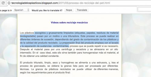 """El concepto que se usó en la iniciativa de ley de Felipe Alejos se tomó del blog """"Tecnología de los Plásticos"""". (Foto: captura de pantalla)"""