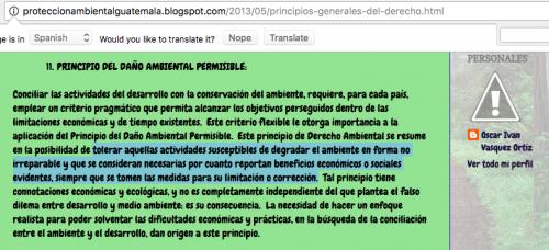 """Se establece el concepto de """"principio del daño ambiental"""", el cual fue copiado de manera literal de un blog de protección ambiental de Guatemala, publicado en 2013. (Foto: captura de pantalla)"""