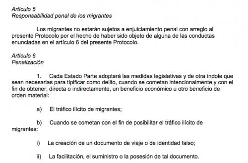 Artículos 6 y 7 del Protocolo contra el tráfico ilícito de migrantes por tierra, mar y aire.