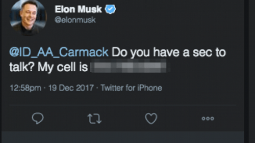 Este fue el tuit publicado por el magnate que luego eliminó de su cuenta de Twitter. (Imagen: Gizmodo)