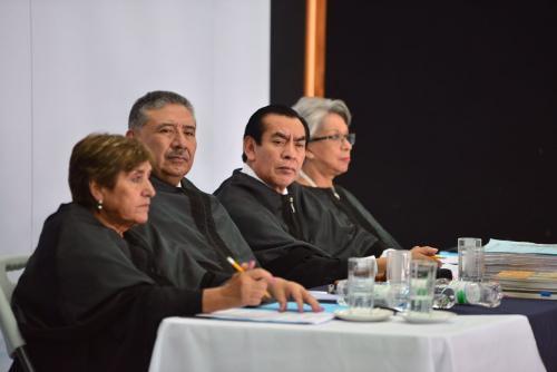 Los magistrados Elizabeth Mercedes García, José Antonio Pineda, Josué Felipe Baquiax y María Eugenia Morales Aceña, integran la Cámara Penal de la CSJ. (Foto: Jesús Alfonso/Soy502)