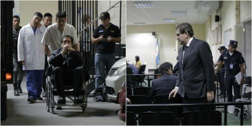 Gustavo Alejos llegó en silla de ruedas y entró a la sala caminando. (Fotos: Alejandro Balán/Soy502)
