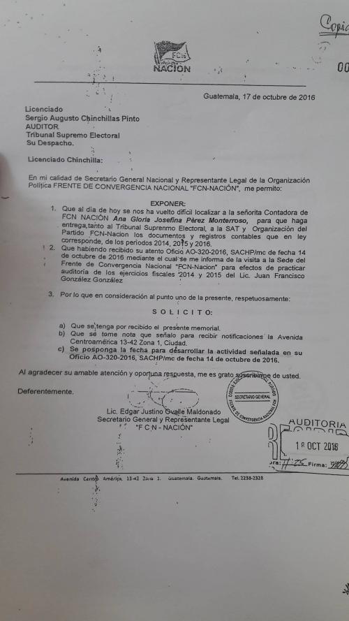 Una de las pruebas presentadas por FCN Nación. (Foto: TSE)