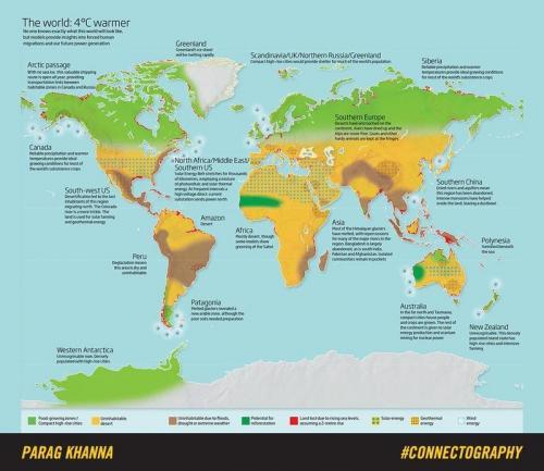 Este mapa muestra el daño climático  que sufrirá en planeta tierra para 2100. (Foto: Parag Khanna)