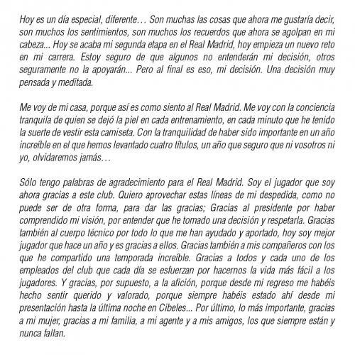 Con esta carta Alvaro Morata se despidió de la afición del Real Madrid. (Foto: Twitter)