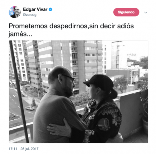 Edgar Vivar publicó esta emotiva foto en su cuenta de Twitter. (Foto: Twitter)