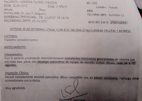 El informe del neurólogo sobre el estado de salud de Valeria antes de que fuera trasladada. (Foto: Soy502)