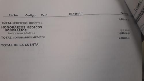 A esta cantidad ascendía la cuenta de hospital de Valeria. (Foto: Soy502)