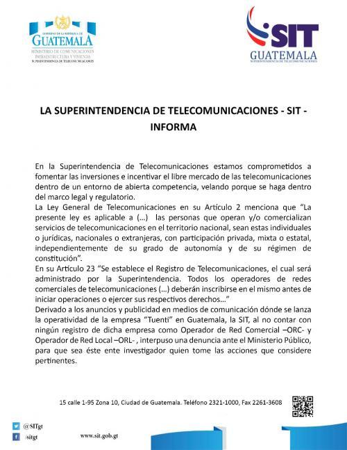La SIT envió un comunicado de prensa para informar el motivo de la denuncia presentada contra Tuenti. (Foto: Superintendencia de Telecomunicaciones)
