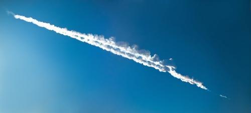 Una estela en el cielo marcó la caída del asteroide. (Foto: Cortesía Edgar Castro Bathen)