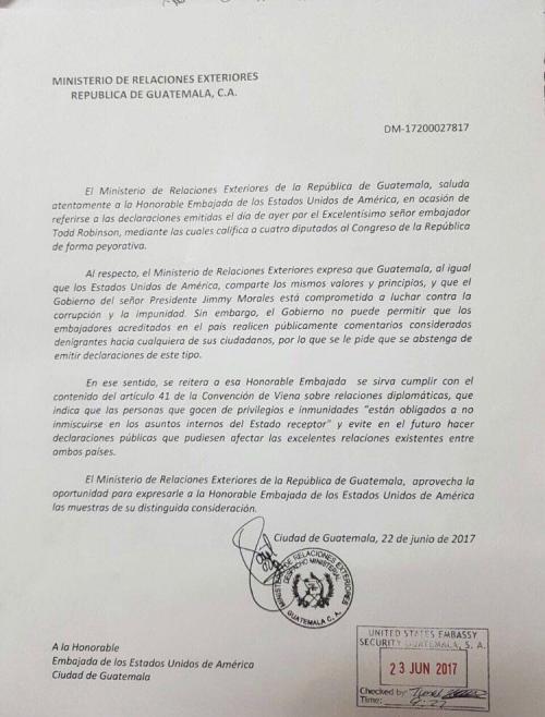 Documento emitido desde la Cancillería. (Foto: Twitter)