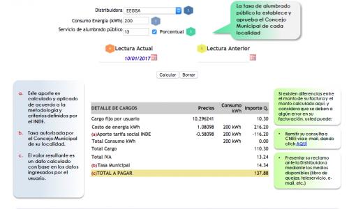 La CNEE cuenta con una calculadora para que verifiques el monto que debes pagar por tu factura de energía eléctrica. (Imagen: captura de pantalla)