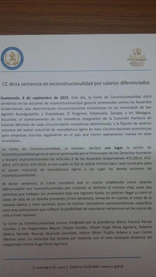 Resolución de la CC respecto a los salarios diferenciados en cuatro municipios.