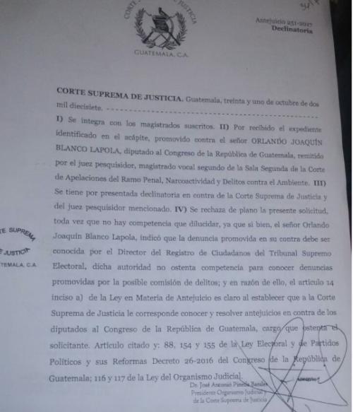 La última acción de Blanco contra el juez fue rechazada el pasado 31 de octubre por la CSJ.
