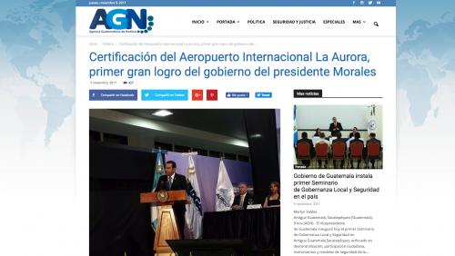 AGN calificó la entrega del certificado como el primer gran logro de Jimmy Morales (Foto: captura de pantalla)