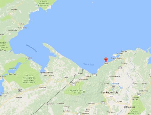 Mapa desembocadura del río Motagua y playas de Omoa, Honduras. (Foto: GoogleMaps)