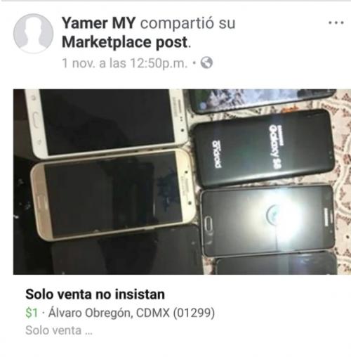 En su cuenta de Facebook, el detenido ponía a la venta los teléfonos celulares robados. (Imagen: Infobae)