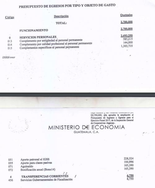 Gastos de la ampliación presupuestaria autorizada. (Foto: Guatecompras)