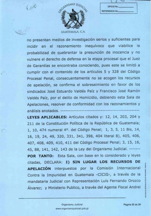 La resolución confirma el cierre de la persecución penal a favor de los hermanos Valdés Paiz.