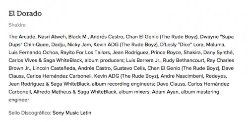 """Estos son los productores e ingenieros de sonido del disco """"El Dorado"""" de Shakira. (Foto: Captura de pantalla)"""