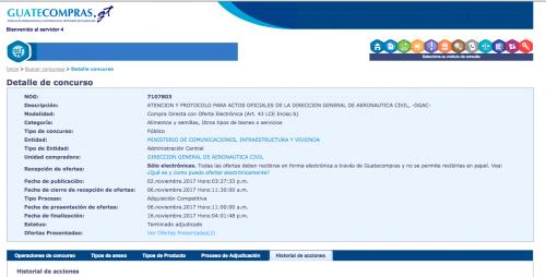 El evento se encuentra en la página web de Guatecompras. (Foto: captura Soy502)