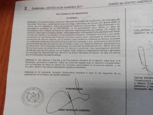 El acuerdo fue publicado este jueves en el diario oficial. (Foto: Soy502)