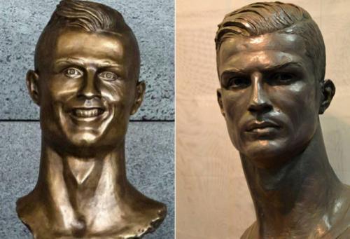 Las comparaciones sobre los dos bustos de Cristiano Ronaldo no se dejaron esperar. (Foto: Marca)