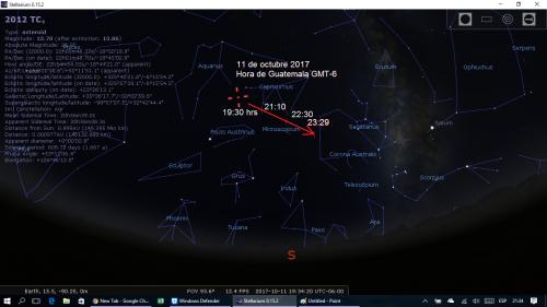 Para ver el asteroide, hay que vigilar el área entre Acuario y Capricornio. (Ilustración: Cortesía Edgar Castro Bathen)