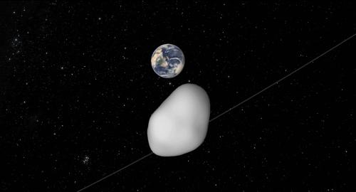 Aproximación gráfica al paso del asteroide 2012 TC4. (Ilustración: Cortesía Edgar Castro Bathen)