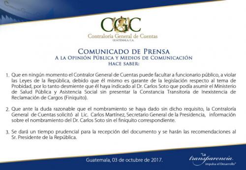 Este es el comunicado de la Contraloría General de Cuentas.