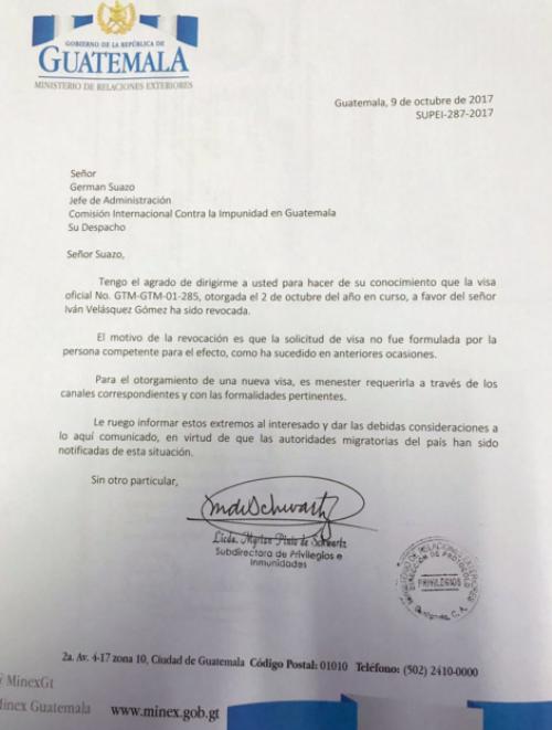 Esta es la carta que el Ministerio de Relaciones Exteriores envió a la CICIG.