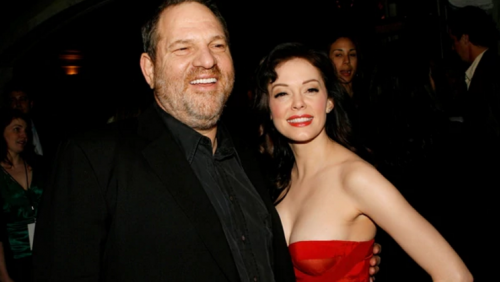 Rose Mc Gowan y Harvey Weinstein. Foto: captura de pantalla)