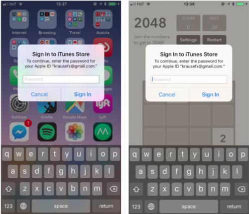 A la izquierda, un pop-up real de iOS. A la derecha, uno falso dentro de una aplicación cualquiera. (Imagen: Felix Krause)