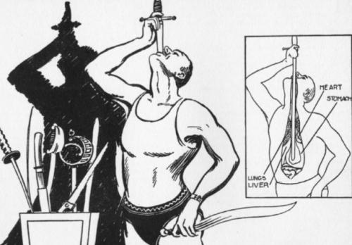 Docenas de músculos se contraen para permitir el paso de la espada en el organismo del ilusionista. (Imagen: Gizmodo)