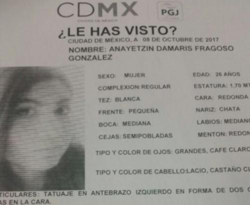 Esta es la ficha informativa divulgada por las autoridades luego de la desaparición de la mujer. (Foto: Infobae)