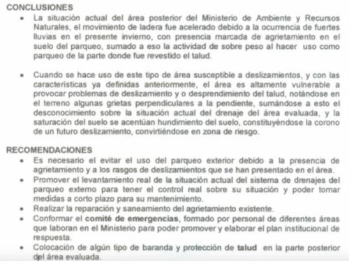 Conclusiones del informe del edificio del MARN. (Foto: Conred)