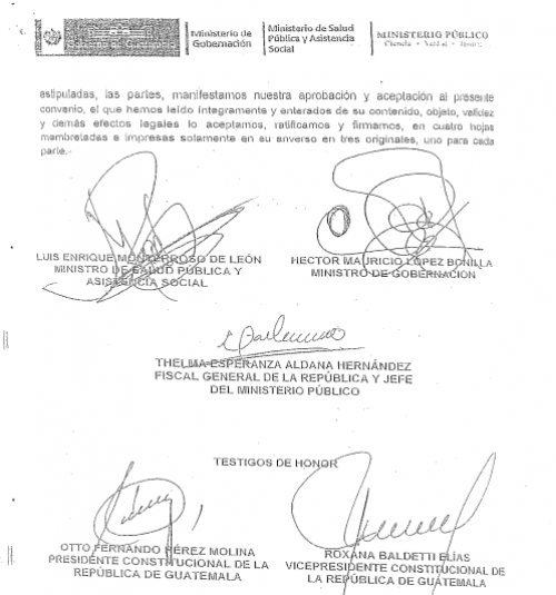 Firmas del convenio firmado el 30 de marzo de 2015. (Foto: Soy502)