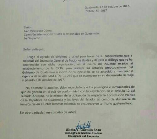 Esta es la carta que firmó la viceministra de Relaciones Exteriores y en la que informa la renovación de visa al comisionado Iván Velásquez. (Foto: Soy502)