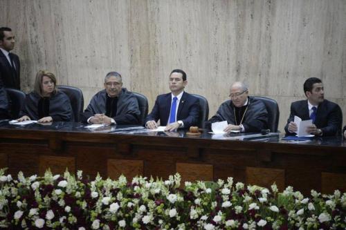 Los presidentes de los tres Organismos de Estado se encontraron en la toma de posesión del magistrado José Pineda en la Corte Suprema de Justicia. (Foto: Wilder López/Soy502)