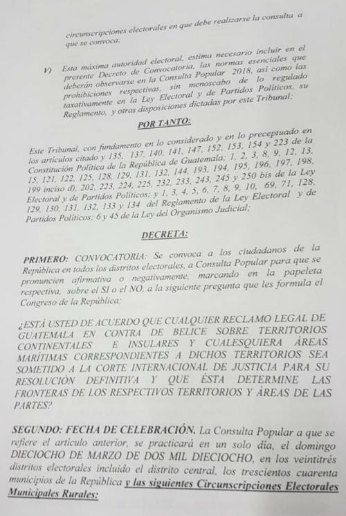 Hoja del acuerdo del TSE que se publicará el próximo lunes o martes. (Foto: Soy502)