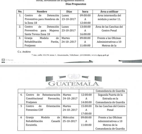 Este es el cronograma propuesto por Presidios para la manifestación de reos. (Foto: Soy502).