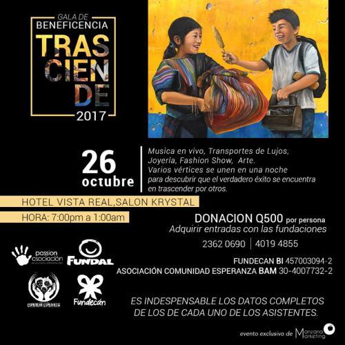Gala Benéfica Trasciende 2017. (Diseño: oficial)
