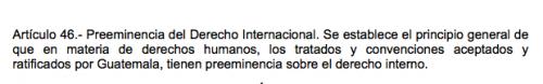 La Constitución otorga preeminencia a los convenios ratificados por Guatemala.