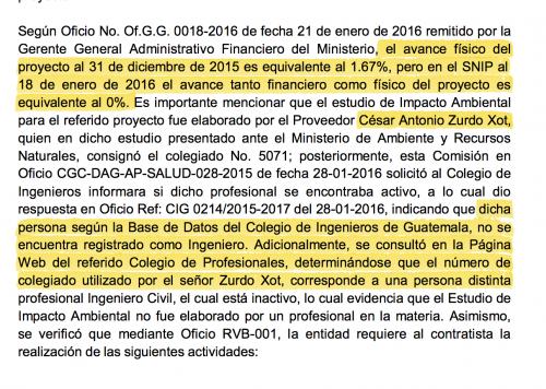 El informe de la Contraloría de 2015 señala que hay falsedades en los estudios de prefactibilidad del Hospital de Rabinal.