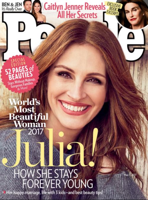 Julia Roberts es la mujer más bonita del mundo segun People. (Foto: portada)