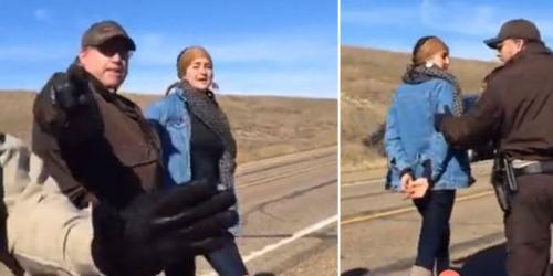 Mientras transmitían en vivo la protesta a través de facebook el arresto a la actriz ocurrió. (Foto: captura de pantalla)