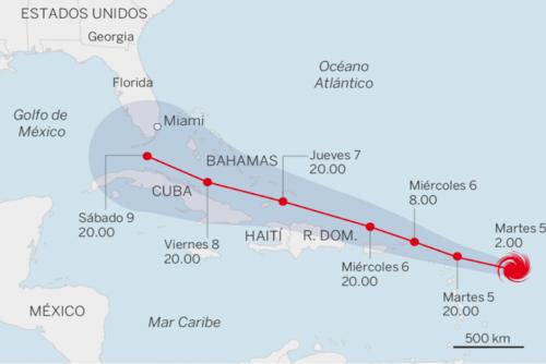 Esta sería la trayectoria del huracán Irma. (Foto: Centro Nacional de Huracanes)